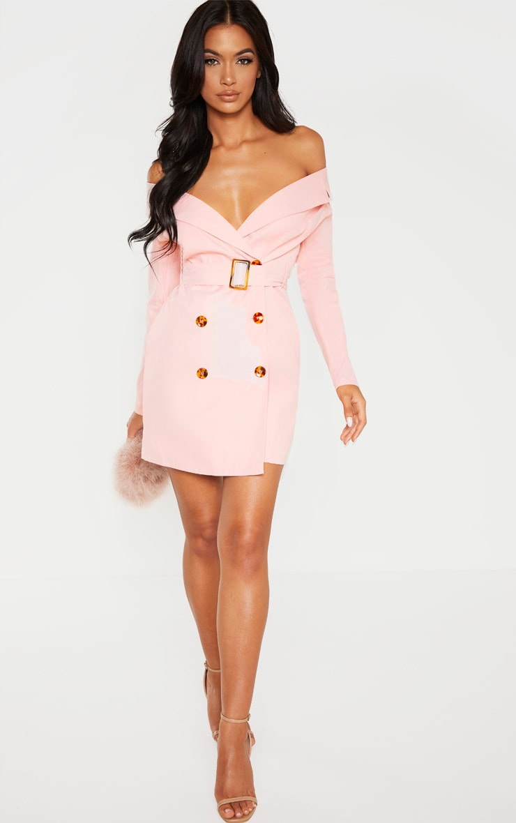 Dusty Pink Bardot Tortoise Button Belted Blazer Dress 1