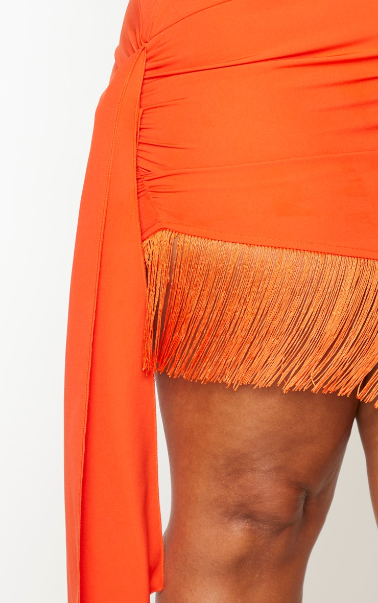 Plus Orange Long Sleeve Tassel Hem Drape Detail Bodycon Dress 4
