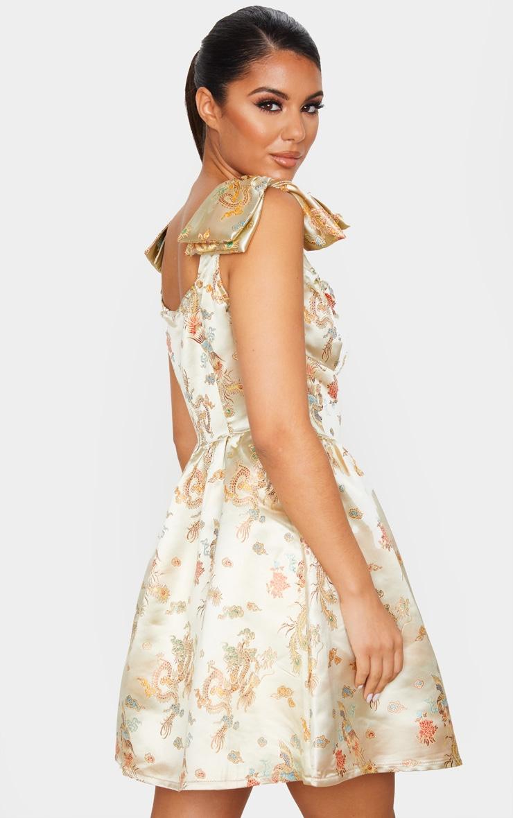 Champagne Jacquard Bow Detail Skater Dress 2