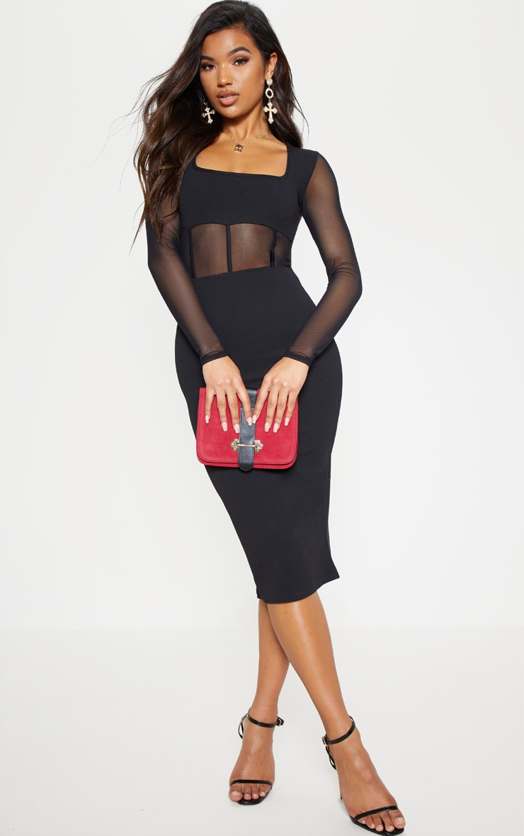 Black Mesh Panel Long Sleeve Midi Dress
