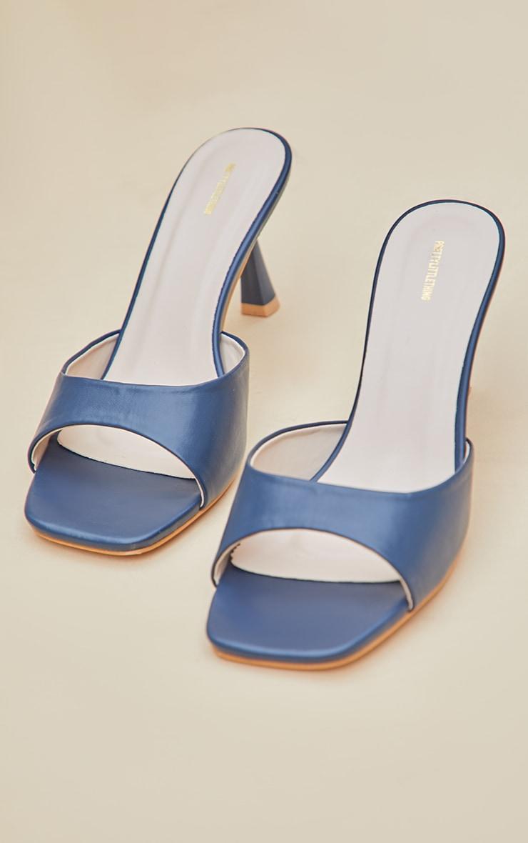 Dark Blue Low Heeled Mules 3