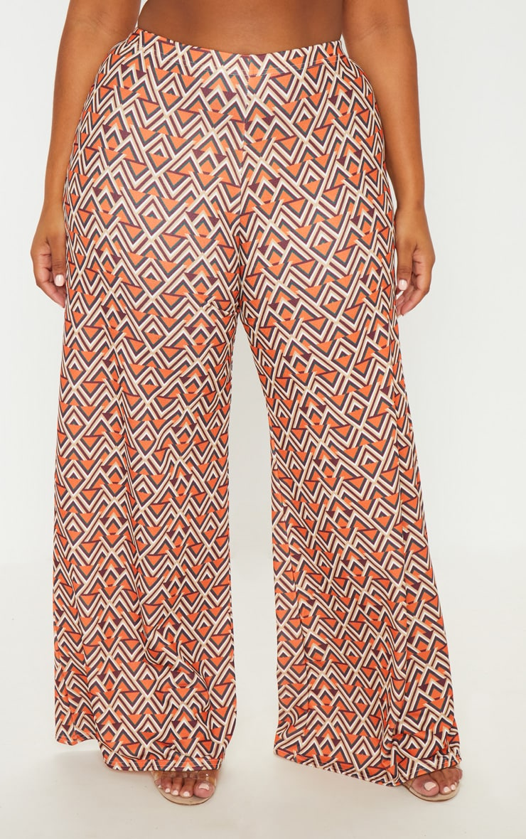 Plus Orange Aztec Print Wide Leg Pants  2