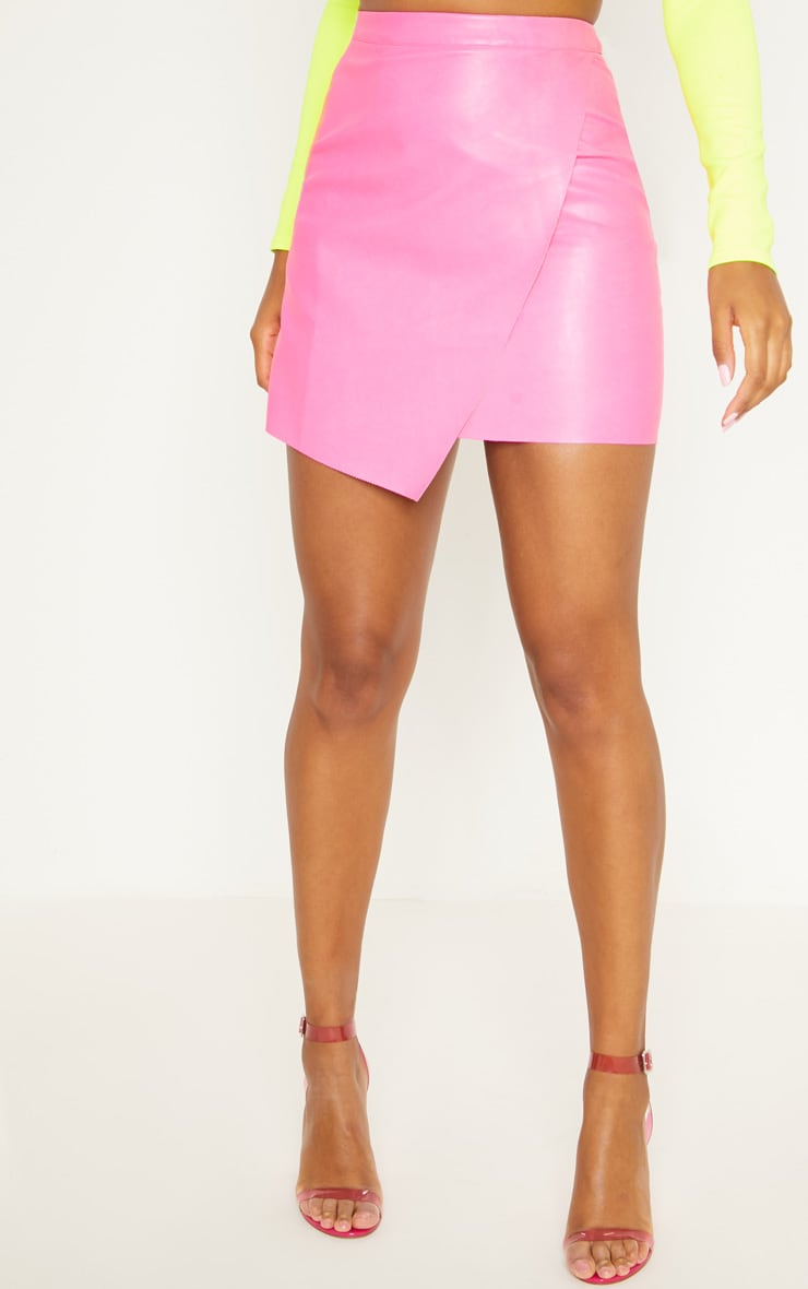 Hot Pink Faux Leather Wrap Mini Skirt 2