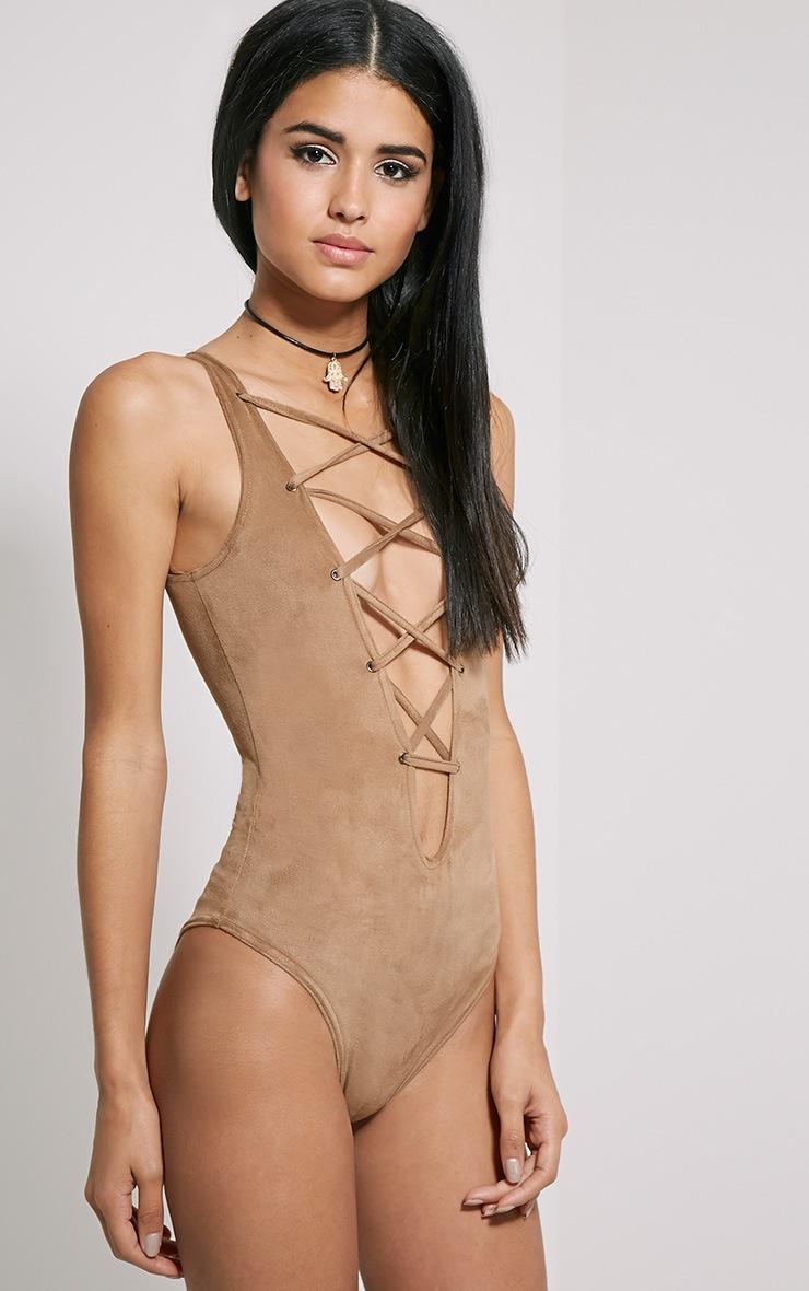 Oksana Camel Faux Suede Deep Plunge Lace Up Bodysuit 4