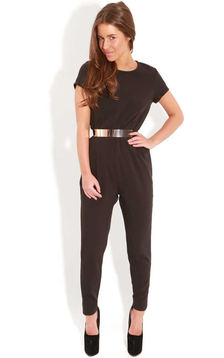 Alberta Black Short Sleeve Fitted Jumpsuit 1