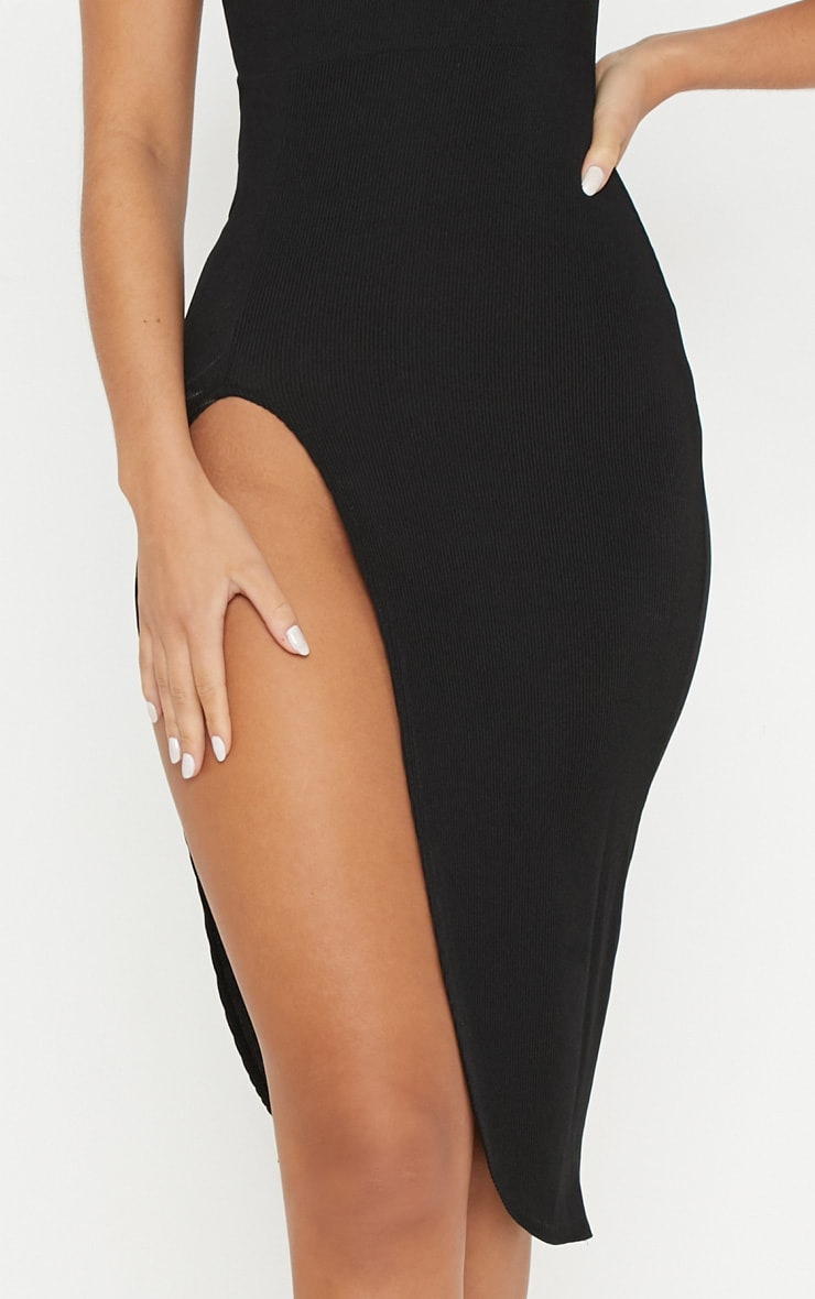 Ribbed Black Extreme Split Cap Sleeve Midi Dress 5