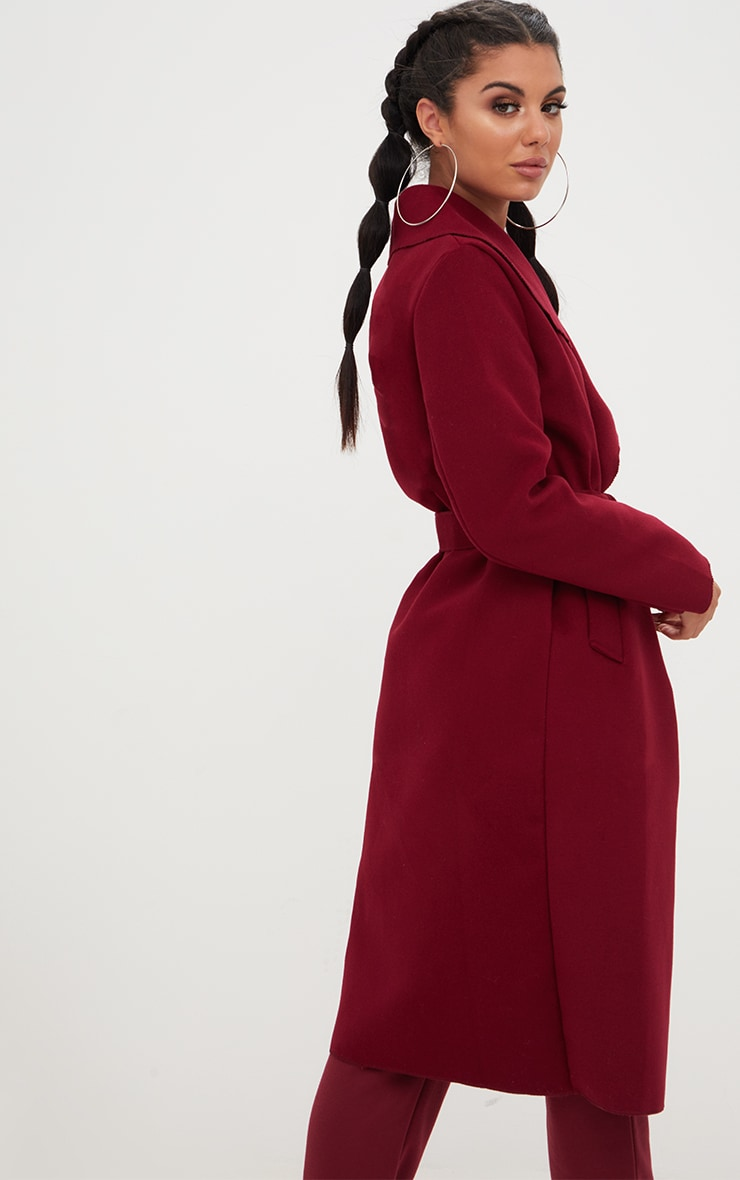 Burgundy Oversized Waterfall Belted Coat 2