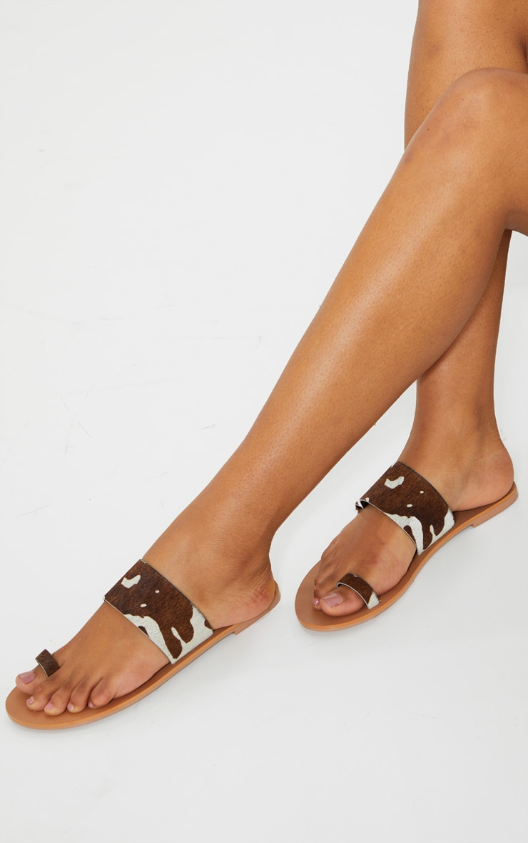 Brown Cow Print Toe Loop Single Strap Mule Sandals 1