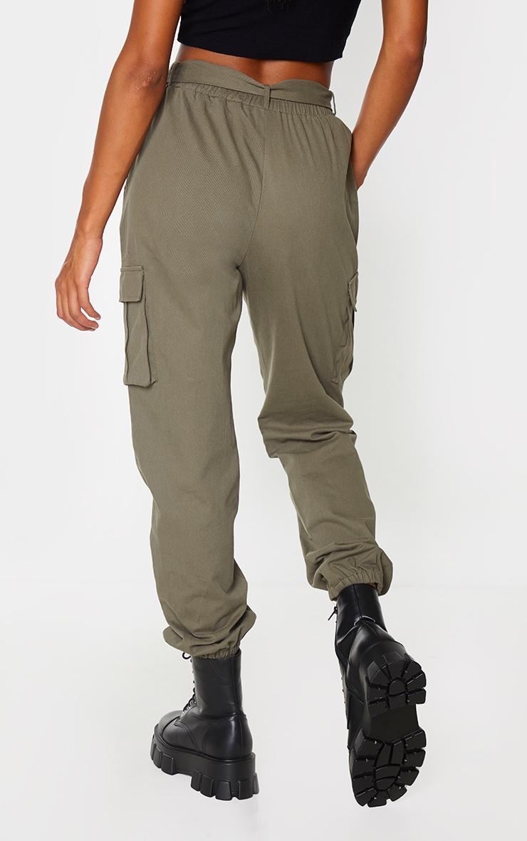 Khaki Buckle Detail Cargo Trousers 3