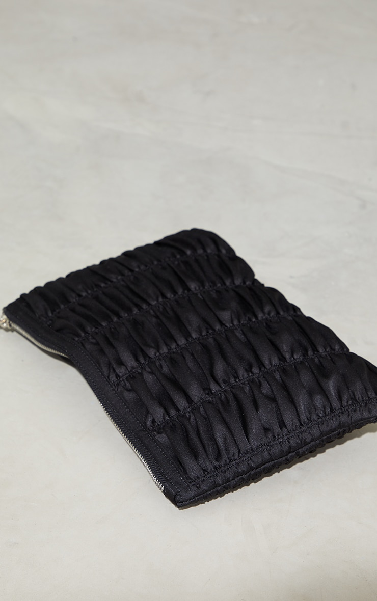 Black Satin Oversized Ruched Clutch 2