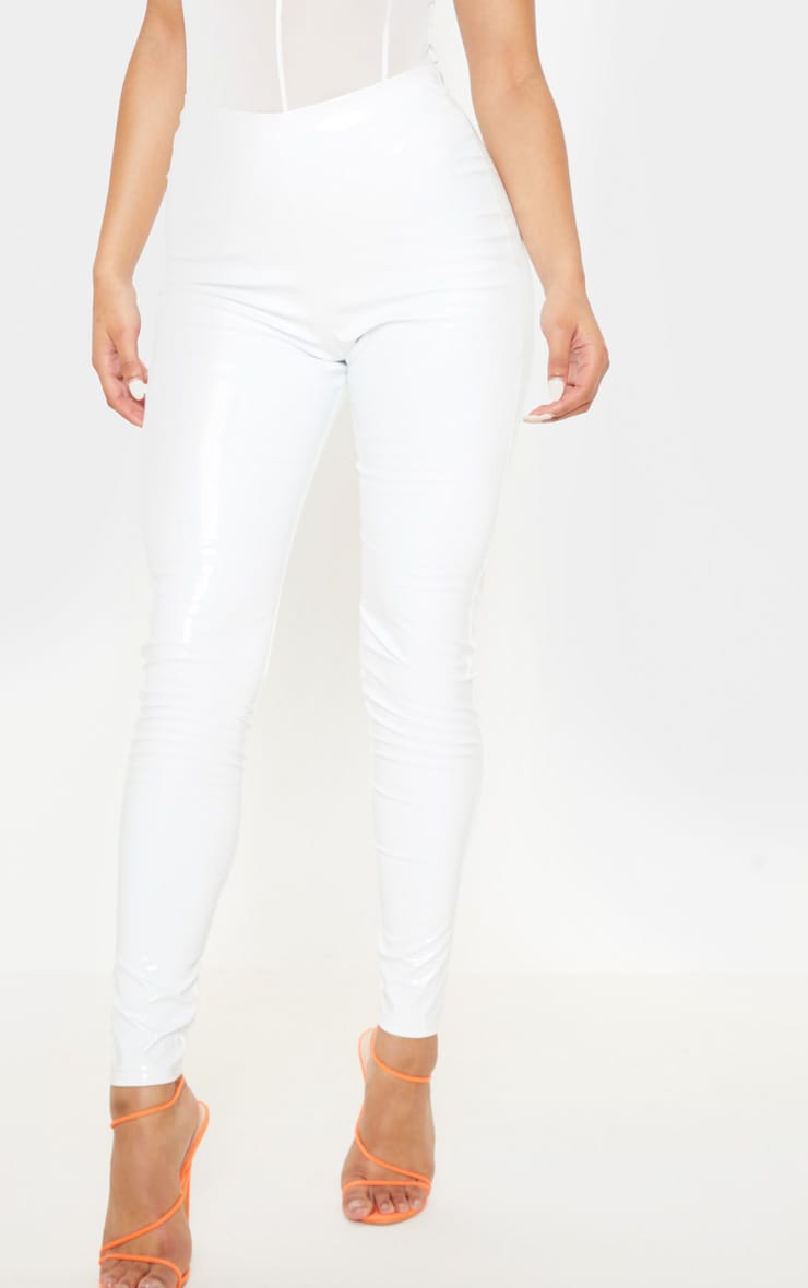 White Highwaisted Vinyl Leggings 2