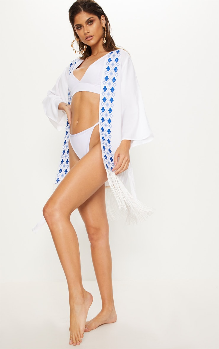 White Embroidered Wide Sleeve Tassel Trim Belted Kimono 4