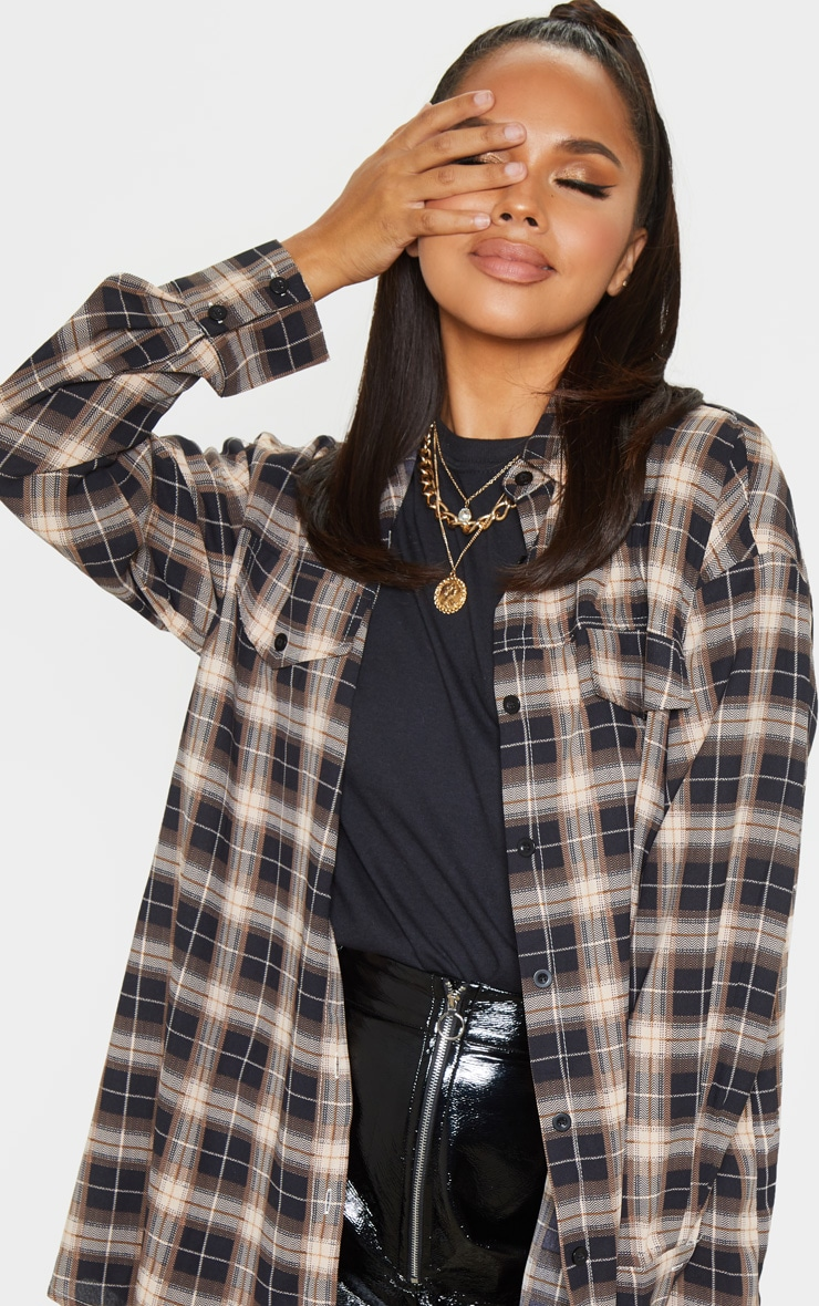 Chocolate Checked Pocket Detail Oversized Shirt 5