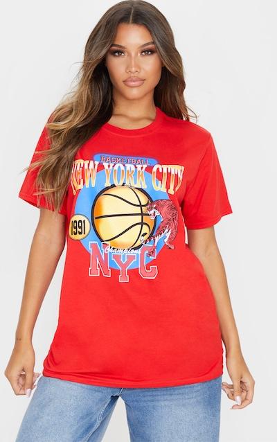 Red Nyc Basketball Slogan Tshirt