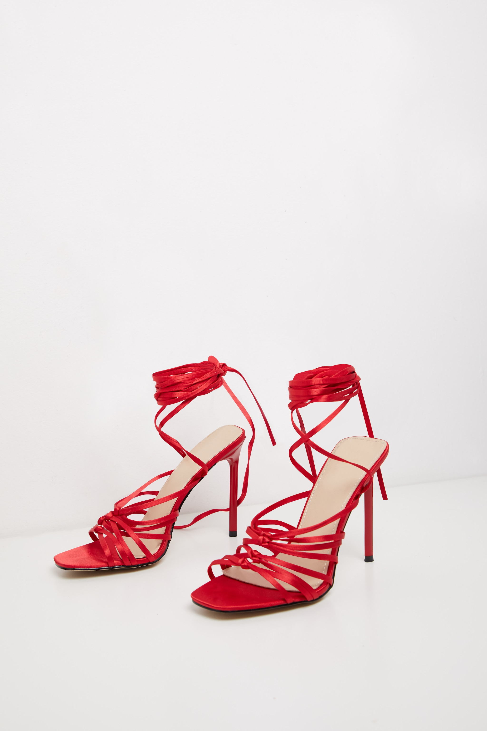 Red Satin Strappy Lace Up Sandal  3