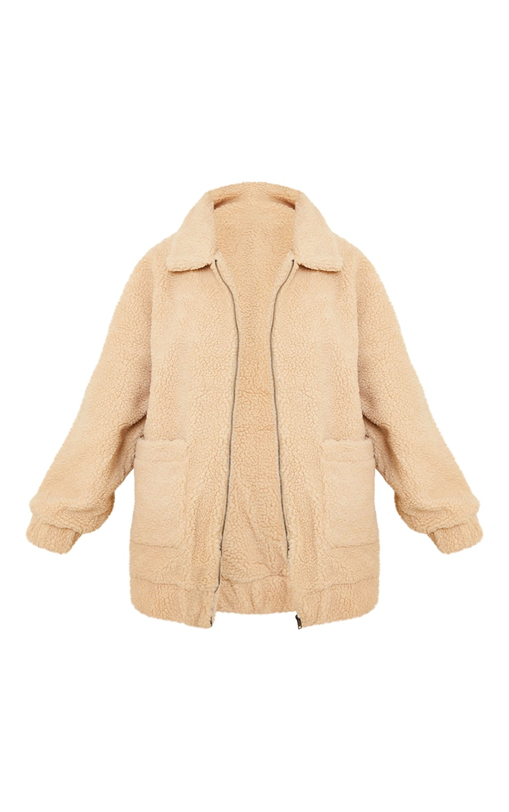 Camel Oversized Borg Pocket Front Coat 5