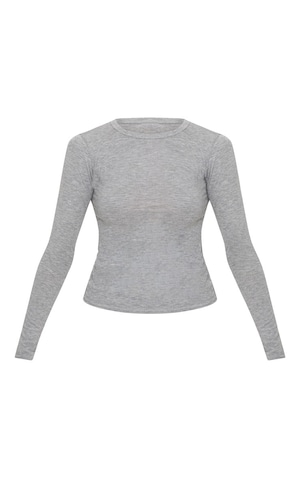 Basic Grey Marl Long Sleeve Fitted T Shirt  image 3