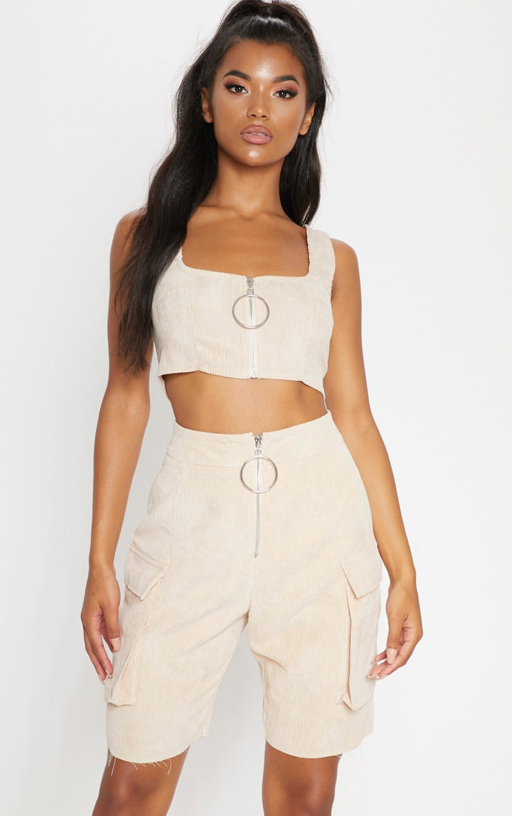 Cream Cord Boyfriend Fit Shorts 1