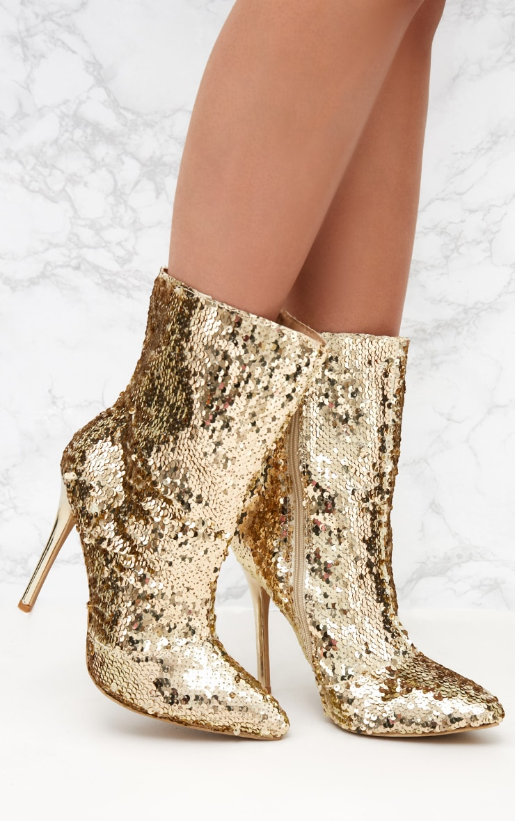 Gold Sequin Heeled Ankle Boot 1