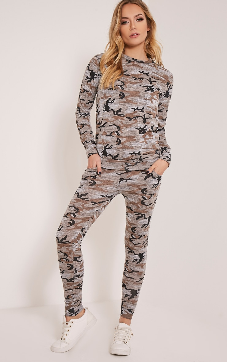 Grechin Taupe Camouflage Tracksuit Bottoms 1