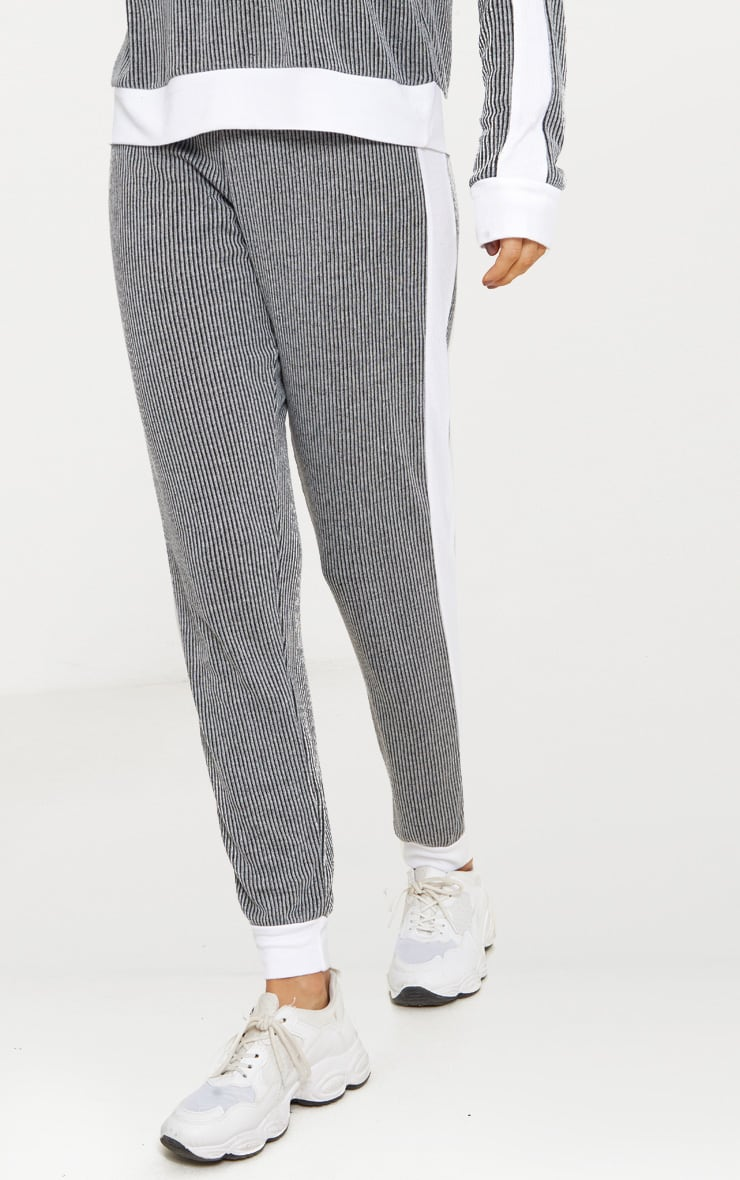 Grey Soft Rib Joggers 2