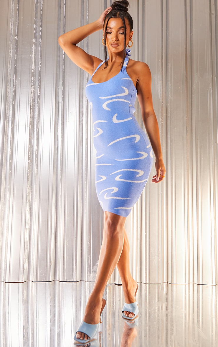 Blue Swirl Detail Strappy Knitted Midi Dress 1