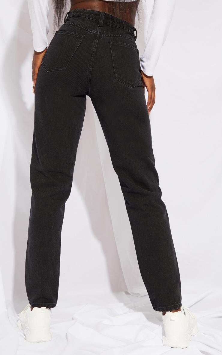 PRETTYLITTLETHING Tall Black Extreme Distressed Hem Knee Rip Mom Jean 3