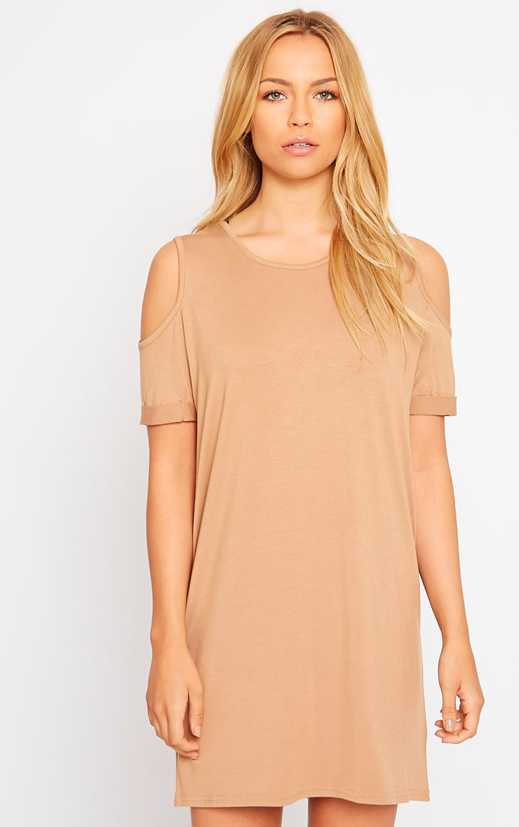 Basic Camel Cut Out Shoulder Dress 4
