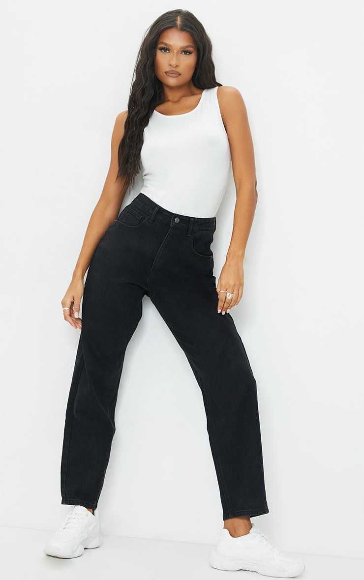 PRETTYLITTLETHING Washed Black Boyfriend Jean 1