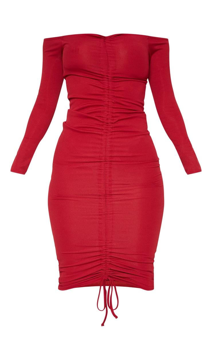 Burgundy Ribbed Ruched Bardot Midi Dress 3