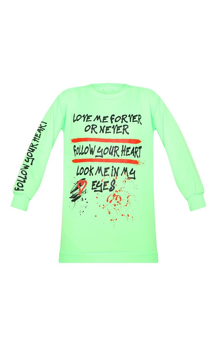 Neon Green  Oversized Slogan Jumper Dress 3