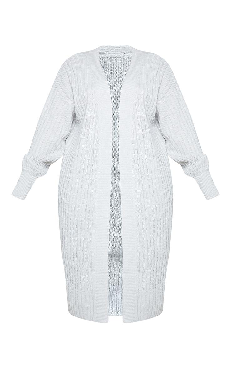 Recycled Plus Grey Ribbed Knit Midi Cardigan 5