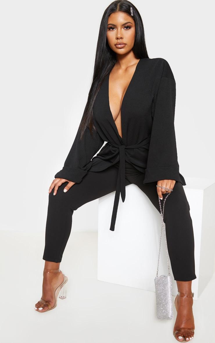 Black Belted Oversized Sleeve Blazer 5