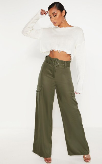Khaki Belted Pocket Wide Leg Trouser