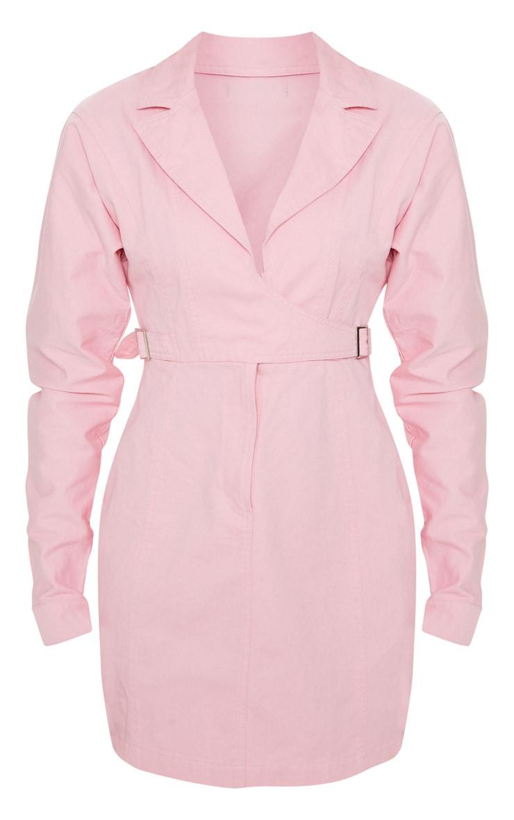 Dusty Pink Side Buckle Long Sleeve Denim Dress  3