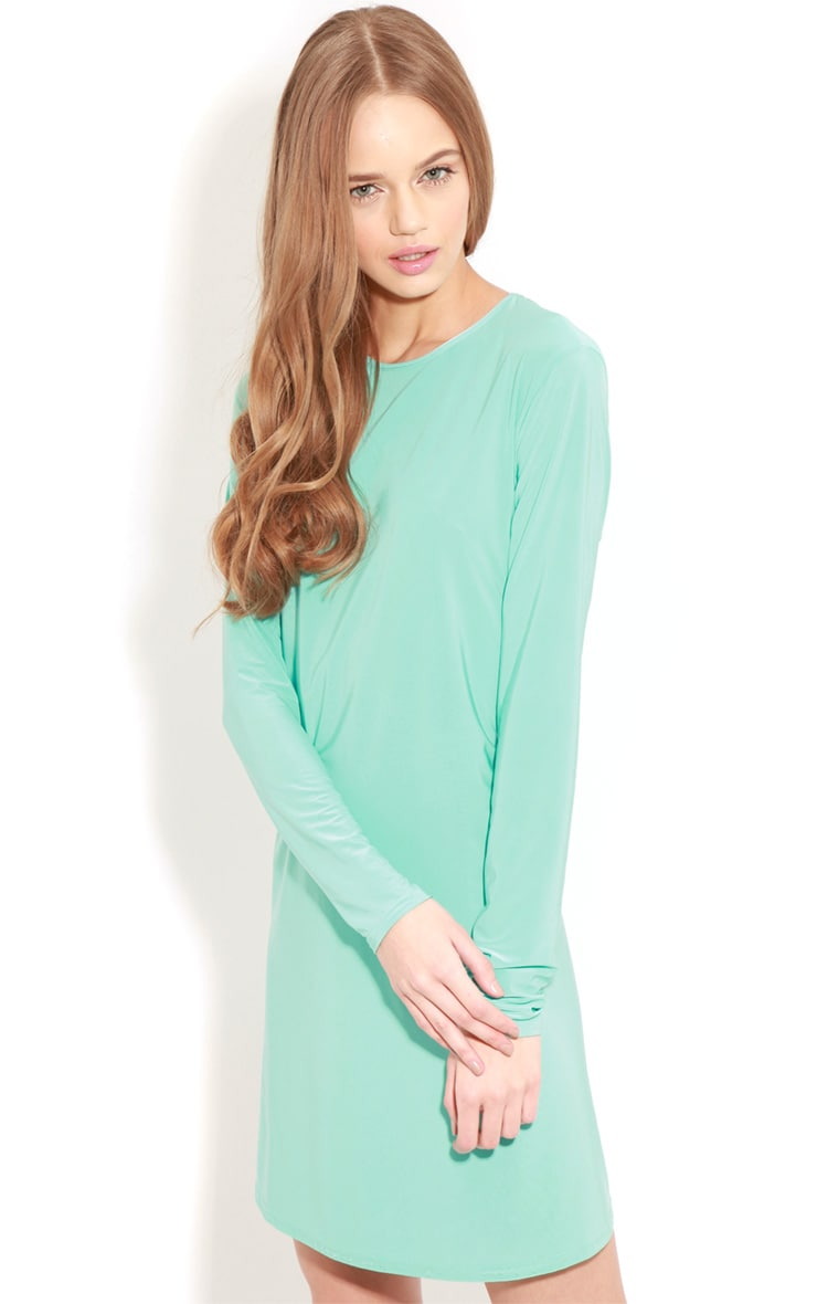Ellen Turquoise Long Sleeved Swing Dress  1