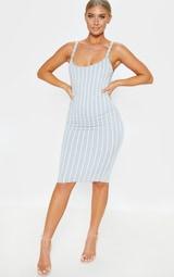 Grey Striped Midi Dress 1