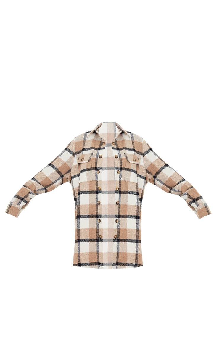 Brown Checked Pocket Front Oversized Shacket 5