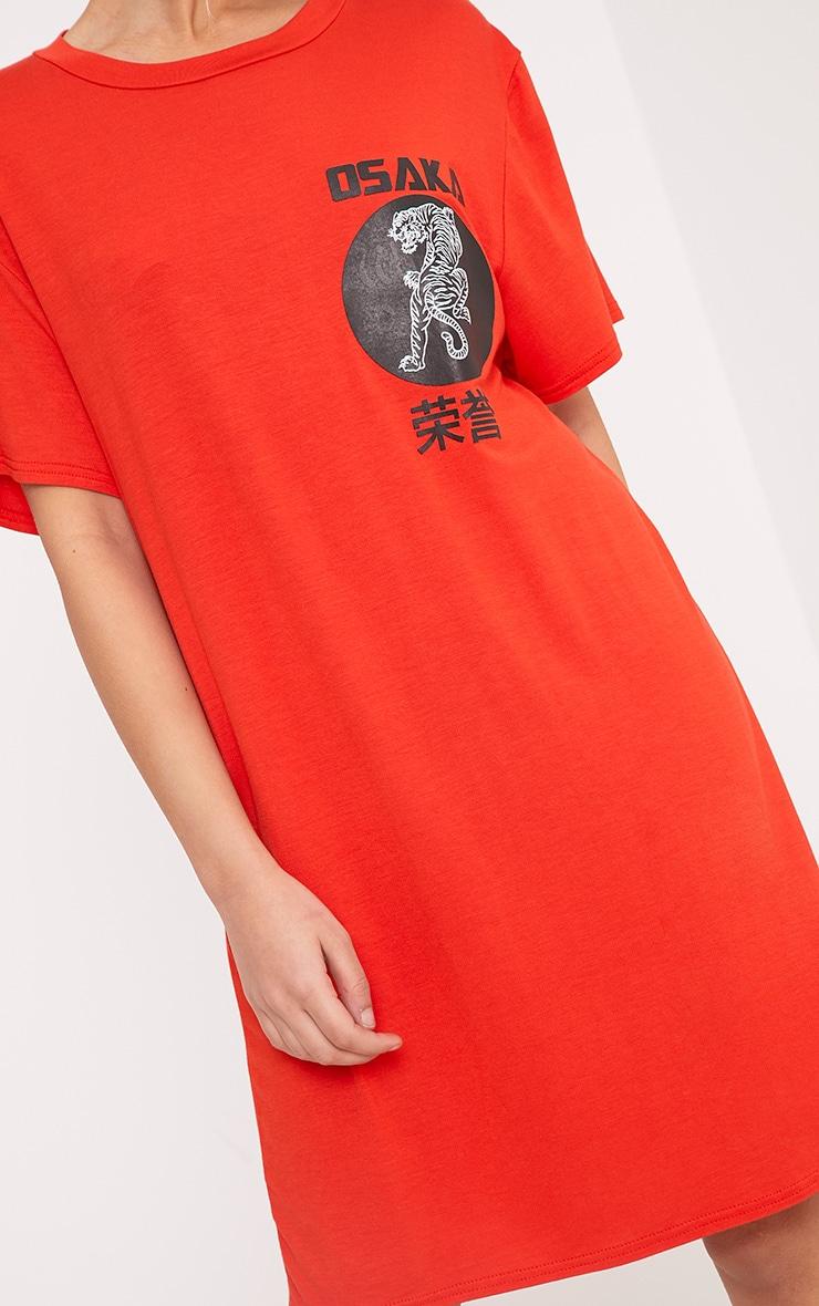 Osaka Orange Tiger T  Shirt Dress 5