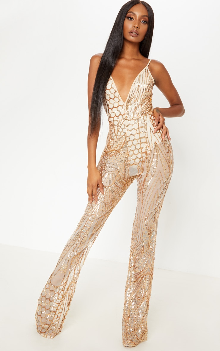 Gold Sequin Flared Leg Jumpsuit 1