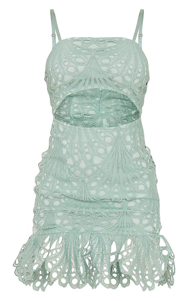 Sage Green Lace Strappy Cut Out Bodycon Dress 5