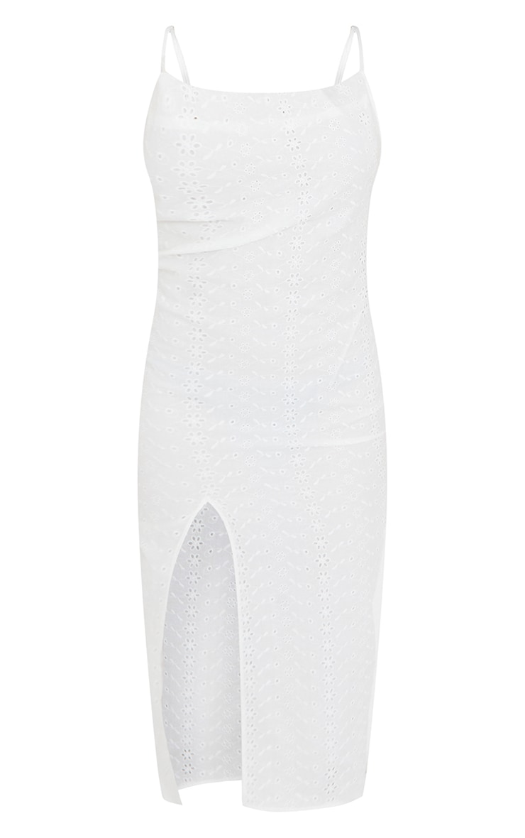 White Broderie Anglaise Cowl Neck Strappy Midi Dress 5