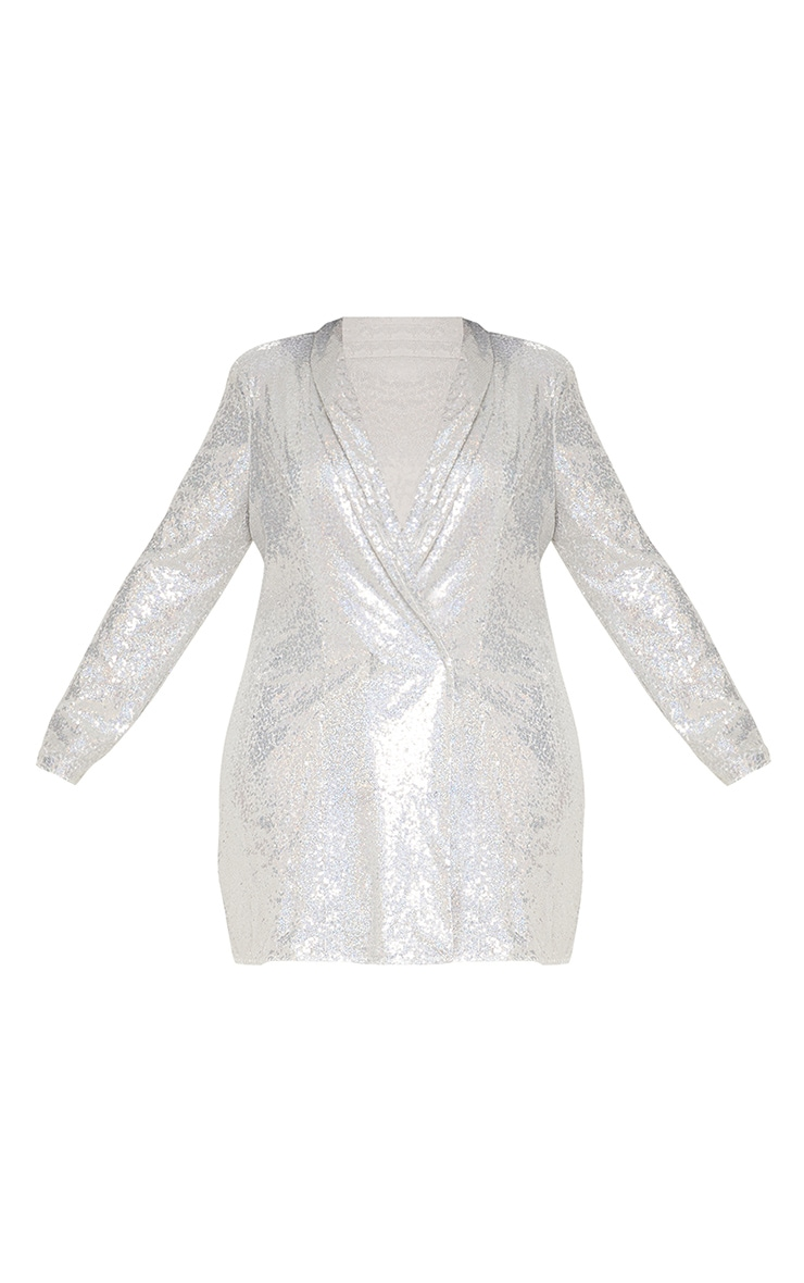 Plus Silver Sequin Blazer Dress 5