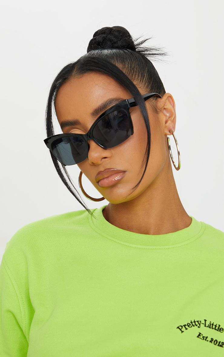 Black Semi Frameless Cat Eye Sunglasses 1