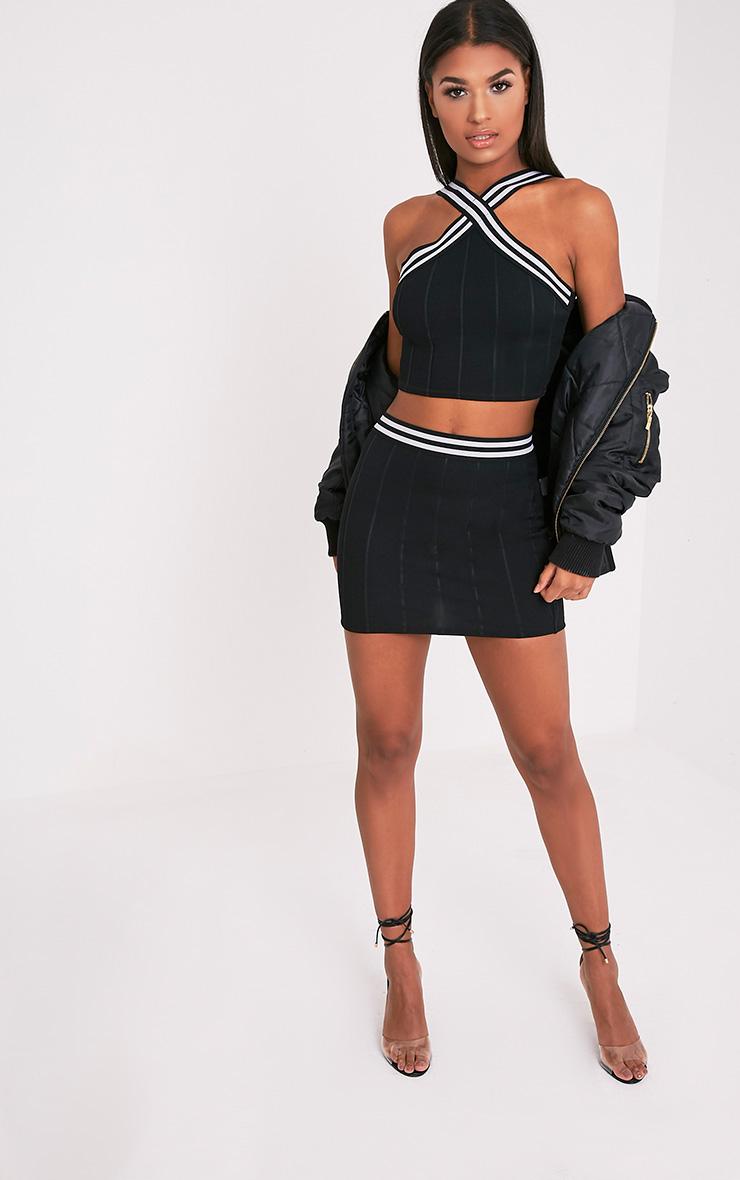 4e00cd8ea17 Chantal Black Sporty Bandage Cross Front Crop Top image 5