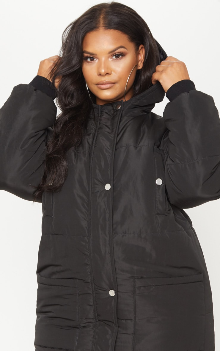 Plus Black Longline Puffer Coat 5