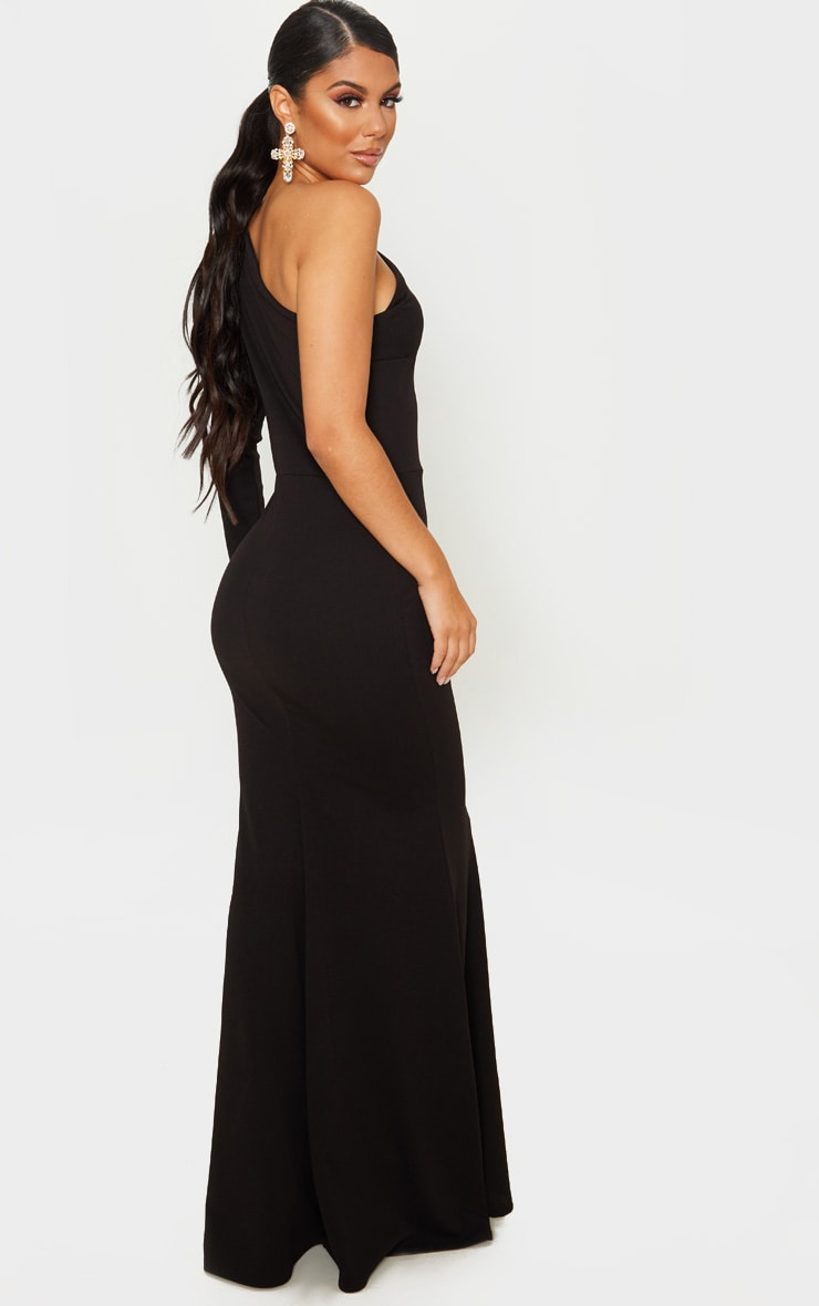 Black One Shoulder Long Sleeve Maxi Dress 2