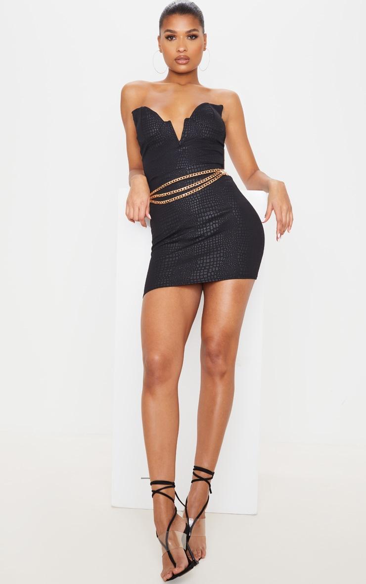Black Croc Print Bodycon Mini Skirt 4
