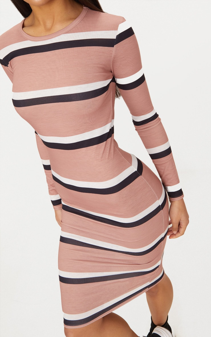 Nude Striped Long Sleeve Midi Dress 5