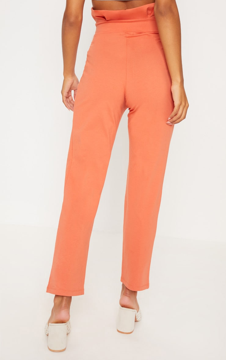 Burnt Orange Button Detail Tapered Trousers 4